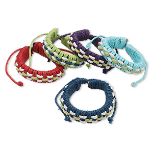 Bracelet Mix, Leather (natural) Cotton, Mixed Colors, Adjustable 5-1/2 7-1/2 Inches Knot Closure. Sold Per Pkg 5