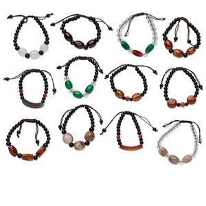 Bracelet Mix, Multi-agate (natural / Dyed / Heated) Waxed Cotton Cord, Mixed Colors, Adjustable 5 7-1/2 Inches Macramé Knot Closure. Sold Per Pkg 12