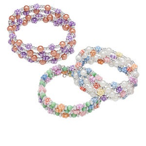 Bracelet Mix, Acrylic Steel Memory Wire, Mixed Colors, 3mm Round / 6mm Round / 6x6mm Flower, 1-3/5 Inch Inside Diameter. Sold Per Pkg 3