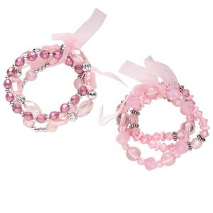 Bracelet Mix, Stretch, Acrylic / Glass / Organza Ribbon / Silver-coated Plastic, Light Pink / Pink / Dark Pink, Mixed Size Shape, 6-1/2 Inches. Sold Per Pkg 6