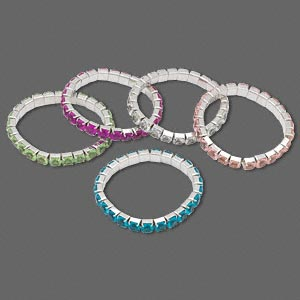 Bracelet Mix, Stretch, Acrylic Steel, Mixed Colors, 6mm Faceted Round, 6-1/2 Inches. Sold Per Pkg 5