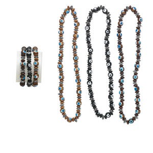 Necklace Bracelet Mix, Stretch, Wood Acrylic, Mixed Colors, Wards Evil Eye Design, 14-inch Continuous Loop Choker-style Necklace, 7-inch Bracelet. Sold Per Pkg 3 Sets