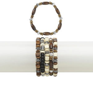 Bracelet Mix, Stretch, Wood (natural / Dyed) Silver-coated Acrylic, Black / Brown / Natural, 9mm Wide Mixed Shape, 6 Inches. Sold Per Pkg 5