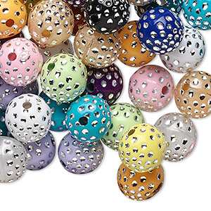 Bead Mix, Acrylic, Mixed Colors, 10mm Round. Sold Per 75-gram Pkg, Approximately 150-160 Beads