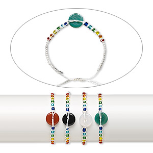 Bracelet Mix, Agate (dyed / Heated) / Waxed Cotton Cord / Glass, Multicolored, Seed Bead 12mm Round Donut, Adjustable 7-9 Inches Macramé Knot Closure. Sold Per Pkg 4