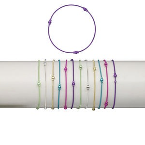 Bracelet Mix, Stretch, Brass Plastic, Mixed Colors, Coil 2.5mm 4mm Round, 7 Inches. Sold Per Pkg 12