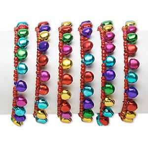 Bracelet Mix, Stretch, Aluminum Glass, Multicolored, Bell, 6 Inches. Sold Per Pkg 6