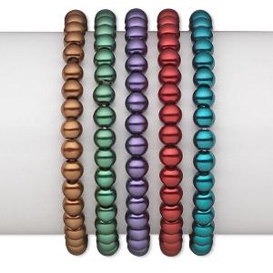 Bracelet Mix, Stretch, Glass Pearl, Jewel Tones, 6mm Round, 6 Inches. Sold Per Pkg 5