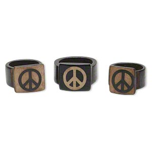 Ring Mix, Bone (dyed), Brown Tan, 15mm Wide Peace Sign, Mohs Hardness 2-1/2, Size 6-1/2 11. Sold Per Pkg 3