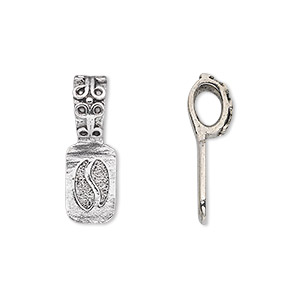 Bail, Glue-on, Antique Silver-plated Pewter (tin-based Alloy), 22x8mm 12x8mm Rectangle Flat Base Decorative Design. Sold Per Pkg 2