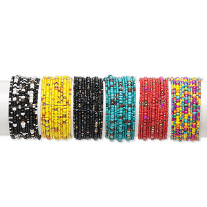 Bracelet Mix, 11-strand, Glass Steel, Mixed Colors, 30mm Wide, Adjustable 7-8 Inches. Sold Per Pkg 6