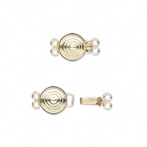 Clasp, 2-strand Tab Safety, 14Kt Gold-filled, 8mm Bullseye Round. Sold Individually
