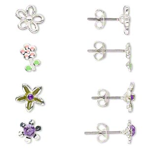 Earring, Acrylic / Enamel / Stainless Steel / Silver-finished Brass, Green / Pink / Purple, 8x5mm-8.5x8mm Flower Post. Sold Per Pkg 4 Pairs