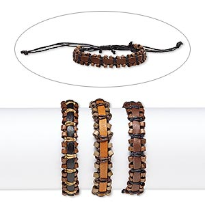 Bracelet Mix, Leather (dyed) / Stained Wood / Waxed Cotton Cord, Mixed Colors, 13mm Wide, Adjustable 6-9 Inches Knot Closure. Sold Per Pkg 3