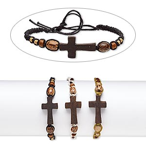 Bracelet Mix, Wood (natural) / Stained Wood / Waxed Cotton Cord, Mixed Colors, 16mm Wide 28x16mm Cross, Adjustable 6-8 Inches Tie Closure. Sold Per Pkg 3
