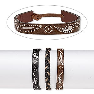 Bracelet Mix, Leather (dyed), Mixed Colors, 6-10mm Wide Embossed Design, Adjustable 6 7-1/2 Inches Tie Closure. Sold Per Pkg 3