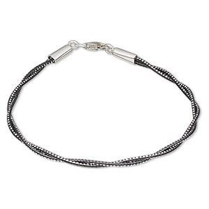 Bracelet, 2-strand, Anodized Sterling Silver Rhodium-plated Sterling Silver, Black, 1.2mm Diamond-cut Twisted Round, 7-1/2 Inches Lobster Claw Clasp. Sold Individually