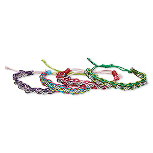 Bracelet Mix, Cotton, Mixed Colors, 10mm Wide, Adjustable 6-10 Inches Wrapped Knot Closure. Sold Per Pkg 4