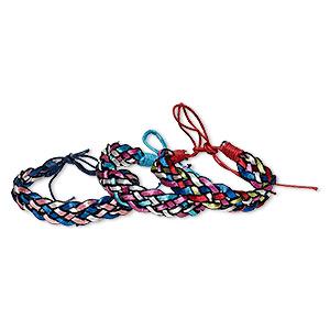 Bracelet Mix, Cotton Nylon, Mixed Metallic Colors, 12mm Wide, Adjustable 6-1/2 8-1/2 Inches Tie Closure. Sold Per Pkg 3