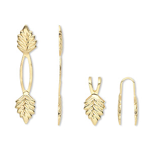 Bail, Fold-over, Gold-plated Brass, 29x5mm Y-style Leaf 14mm Grip Length. Sold Per Pkg 100
