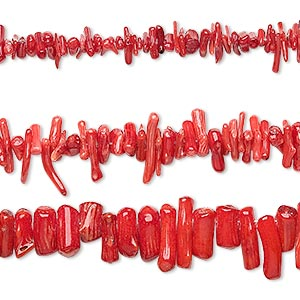 Bead Mix, Bamboo Coral (dyed), Red, 4x3mm-21x10mm Mixed Shape, C Grade, Mohs Hardness 3-1/2 4. Sold Per Pkg (3) 16-inch Strands