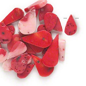 Bead Mix, Bamboo Coral (dyed), Red Pink, 13x6mm-29x15mm Top-drilled Flat Teardrop, D Grade, Mohs Hardness 3-1/2 4. Sold Per Pkg 25