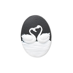 Cabochon, Acrylic, Black White, 25x18mm Non-calibrated Oval Cameo Swans. Sold Per Pkg 12