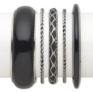 Bracelet Mix, Bangle, Plastic Silver- Gunmetal-finished Steel, Silver Black, 3-22.5mm Wide Mixed Design, 8 8-1/2 Inches. Sold Per 5-piece Set