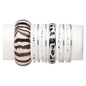 Bracelet Mix, Bangle, Vinyl / Polyester / Silver-finished Steel, White Black, 3-29mm Wide Mixed Design, 8 Inches. Sold Per 10-piece Set