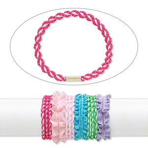 Bracelet / Hair Tie Mix, Stretch, Multicolored, 4-25mm Twist, 8 Inches. Sold Per Pkg 12