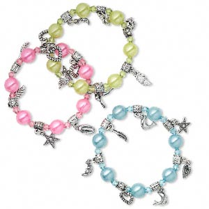 Bracelet Mix, Stretch, Acrylic Silver-coated Plastic, Pink / Light Green / Light Blue, 10mm Wide Assorted Shape, 6 Inches. Sold Per Pkg 3