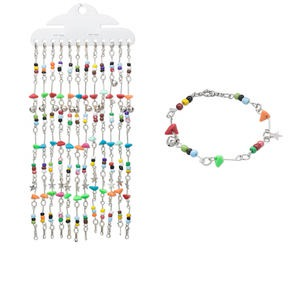 Bracelet Mix, Acrylic / Glass / Imitation-rhodium-finished Steel, Mixed Colors, 9mm Wide Chip, 7 Inches Springring Clasp. Sold Per Pkg 12