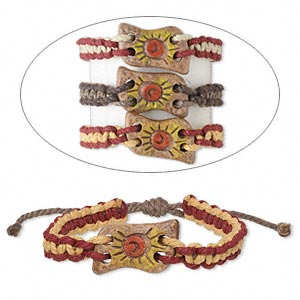 Bracelet Mix, Painted Ceramic Waxed Cotton Cord, Mixed Colors, 24mm Wide Sun Design, 7 8-1/2 Inches Wrapped Knot Closure. Sold Per Pkg 3