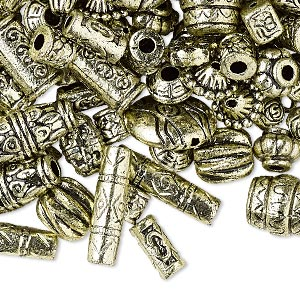 Bead Mix, Antiqued Gold-finished Plastic, 6.5x2mm-25x19.5mm Mixed Shape. Sold Per Pkg 250 Grams, Approximately 1,300 Beads