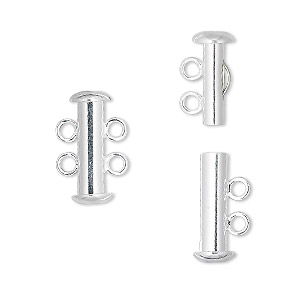 Clasp, 2-strand Slide Lock, Silver-plated Brass, 16x6mm Tube. Sold Per Pkg 4