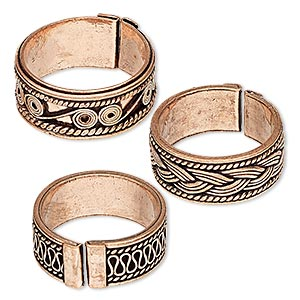 Ring Mix, Antiqued Copper, 8-9mm Band Assorted Design, Adjustable 7.5 Size Larger. Sold Per Pkg 3