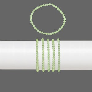 Bracelet Mix, Stretch, Glass, Transparent Lime Green, 4mm Faceted Bicone, 7 Inches. Sold Per Pkg 5