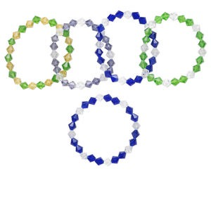 Bracelet Mix, Stretch, Glass, Multicolored, 8mm Bicone, 7 Inches. Sold Per Pkg 5