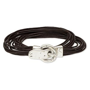 Bracelet, 10-strand Wrap, Leather (dyed) Antique Silver-plated pewter (zinc-based Alloy), Brown, 10mm Wide, 7 Inches 38x21mm Magnetic Buckle-style Closure. Sold Individually