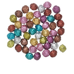 Bead Mix, Acrylic, Mixed Colors, 20mm Round Rose. Sold Per Pkg 50