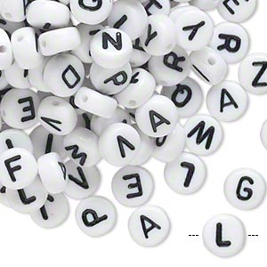 Bead Mix, Acrylic, Opaque White Black, 7mm Double-sided Flat Round Alphabet Letters. Sold Per Pkg 200