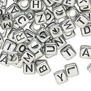 Bead Mix, Acrylic, Opaque Silver Black, 6x6mm Cube Alphabet Letters 3.5mm Hole. Sold Per Pkg 100