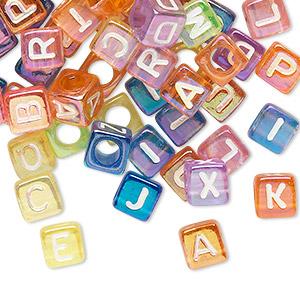 Bead Mix, Acrylic, Translucent Mixed Rainbow Colors AB, 6x6mm Cube Alphabet Letters 3.5mm Hole. Sold Per Pkg 100