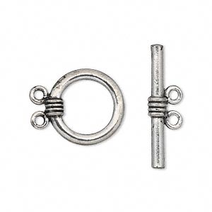 Clasp, 2-strand Toggle, Antiqued Pewter (tin-based Alloy), 16mm Round. Sold Per Pkg 2