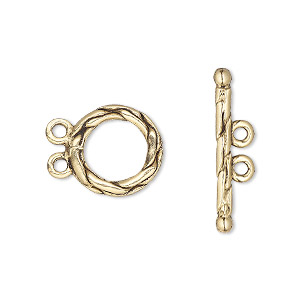 Clasp, 2-strand Toggle, Antique Gold-plated Pewter (tin-based Alloy), 13mm Braided Round. Sold Per Pkg 2