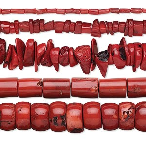 Bead Mix, Bamboo Coral (dyed), Red, 4x3mm-28x14mm Mixed Shape, D Grade, Mohs Hardness 3-1/2 4. Sold Per Pkg (5) 15-inch Strands