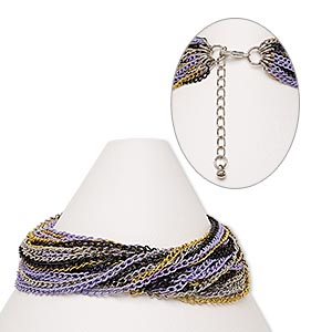 Bracelet, 28-strand, Steel / Gold- / Silver- / Imitation Rhodium-finished Steel / Silver-finished Brass, Purple Black, 20mm Wide, 7 Inches 2-inch Extender Chain Lobster Claw Clasp. Sold Individually