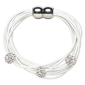 Bracelet, 10-strand, Leather (dyed) / Glass Rhinestone / Silver-plated pewter (zinc-based Alloy), White Clear, 10mm Round, 6 Inches Magnetic Clasp. Sold Individually
