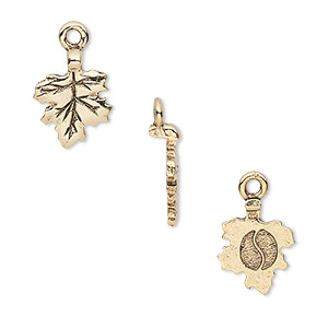 Bail, Glue-on Earring Style, Gold-plated Pewter (tin-based Alloy), 17x11mm 11x10mm Leaf Flat Base. Sold Per Pkg 4