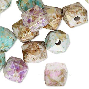 Bead Mix, Acrylic, Mixed Colors, 12x12mm Faceted Cube Speckles 2.5-3mm Hole. Sold Per Pkg 50